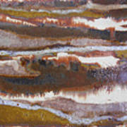 21. V2 Rustic Brown, Red And White Glaze Painting Art Print