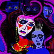 215   Mother And Child  Clowns A  Art Print