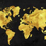 24 karat world in black gold metal world map painting by tina lavoie 24 karat world in black gold metal world map poster gumiabroncs Gallery