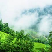Mountain Scenery In Mist Art Print