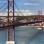 25th Of April Suspension Bridge In Lisbon Art Print