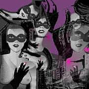 2616 Ladies Masks Man Weapons 2018 Art Print