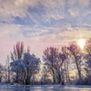 Frozen Water, Snow And Ice On The Dnieper River Art Print