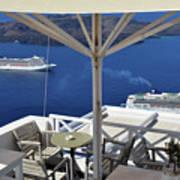 28 September 2016 Restaurant By The Aegean Sea  In Santorini, Greece  Art Print