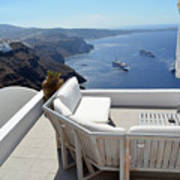29 September 2016 Lounge Terrace And The View Of Volcanic Caldera In Santorini, Greece Art Print