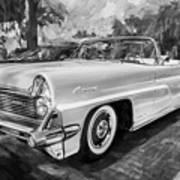 1959 Lincoln Continental Town Car Mk Iv Painted Bw   Art Print