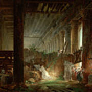 A Hermit Praying In The Ruins Of A Roman Temple Art Print