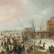 A Scene On The Ice Near A Town Art Print