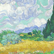A Wheatfield With Cypresses Art Print