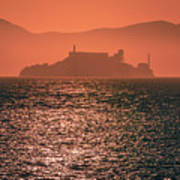 Alcatraz Island Prison San Francisco Bay At Sunset Art Print