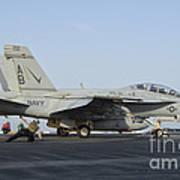 An Fa-18f Super Hornet Ready To Launch Art Print