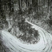 Bad Road Conditions While Driving In Winter Art Print