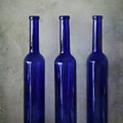 3 Blue Bottles Art Print
