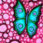 Blue Butterfly Art Print by Brenda Higginson