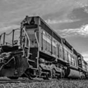 Blue Freight Train Engine At Sunrise  Art Print
