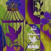 3 Caged Birds Art Print