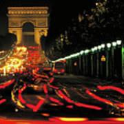 Champs Elysee At Night Art Print