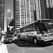 Chicago Bus And Buildings Art Print