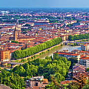 City Of Verona Old Center And Adige River Aerial Panoramic View Art Print