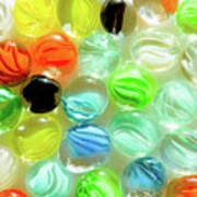 Colored Glass Beads On White Background Art Print