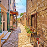 Colorful Mediterranean Stone Street Of Prvic Island Art Print