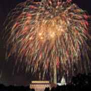 Fireworks Over Washington Dc On July 4th Art Print