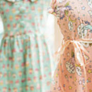 Floral Pattern Young Girl Dresses In Shop Art Print