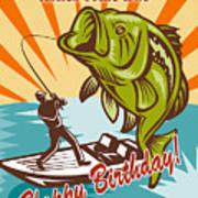 Fly Fisherman On Boat Catching Largemouth Bass Art Print by Aloysius Patrimonio