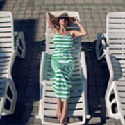 Girl Lies On A Chaise Longue In A Green Striped Dress Art Print