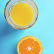 Glass Of Orange Juice And Half Of Orange Art Print