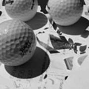 3 Golf Balls Enter Art Competition Art Print
