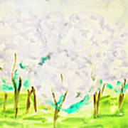 Hand Painted Picture, Spring Garden Art Print