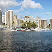 Honolulu Skyline Panorama Art Print