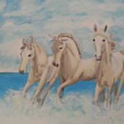 3 Horses Art Print