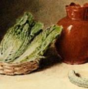 Hunt William Henry Still Life With A Jug A Cabbage In A Basket And A Gherkin William Henry Hunt Art Print