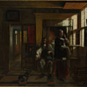 Interior With A Young Couple Art Print