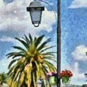 Lampost With Flowers In Nafplio Town Art Print