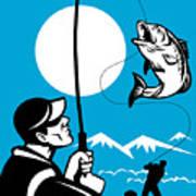 Largemouth Bass Fish And Fly Fisherman Art Print