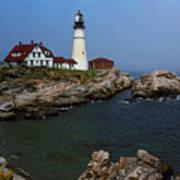 Lighthouse - Portland Head Maine Print by Frank Romeo