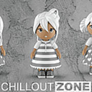 3 Little 3d Girls In Chilloutzone Art Print