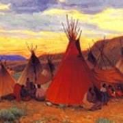 lrs Sharp Joseph Henry Evening Crow Reservation Joseph Henry Sharp Art Print