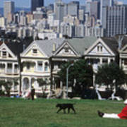 Man And Dog In Alamo Square In San Francisco Art Print