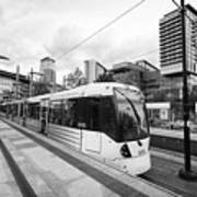 metrolink trams at mediacity station Manchester uk Art Print