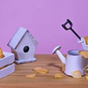 Miniature Gardening Kit With Pink Background Art Print