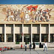 National Historical Museum Landmark And Mosaic Mural In Tirana A Art Print