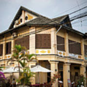 Old French Colonial Architecture In Kampot Town Street Cambodia Art Print
