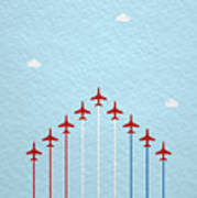 Raf Red Arrows In Formation Art Print
