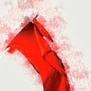 Red Flag On Black Background Art Print