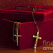 Red Velvet Box With Cross And Rosary Art Print