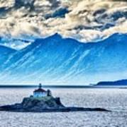 Remote Lighthouse Island Standing In The Middle Of Mud Bay Alask Art Print